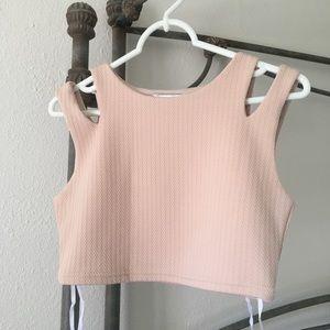 Sabo skirt nude crop tank bra top medium NWOT